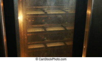 Baking bread in a bakery.