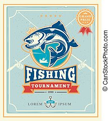 Poster with the announcement of the fishing tournamen -...