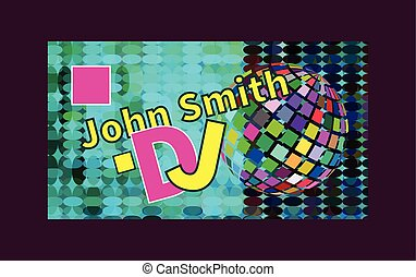 Business card of DJ with ball. Vector illustration.