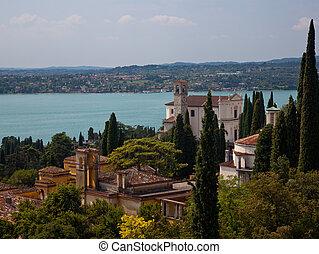Gardone on Lake Garda - Gardone church on banks of Lake...