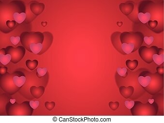 Abstract red Valentines Day hearts background