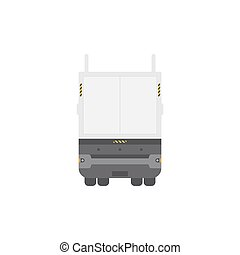 Cool semi-trailer truck back view. Isolated on white background.