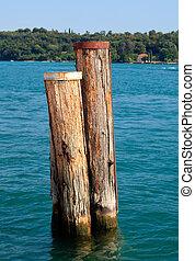 Wood piles in Lake Garda