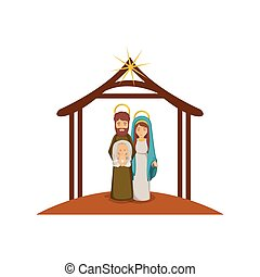 colorful image with virgin mary and saint joseph with baby in arms under manger