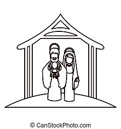 monochrome contour with virgin mary and saint joseph with baby in arms under manger