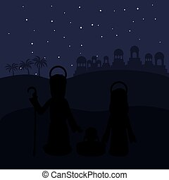 color background in desert night of bethlehem with virgin mary and saint joseph and jesus in crib