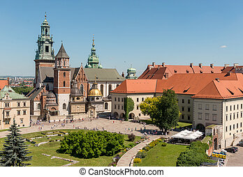 Wawel Cathedral in Krakow, aerial - Overlooking the famous...