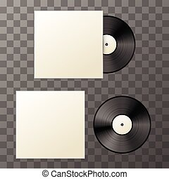 Mockup of blank vinyl disc with cover