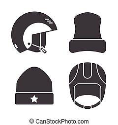 Winter Sports Head Wear Outline Icons - Winter sport head...