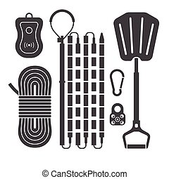 Avalanch Rescue Kit Outline Icons - Avalanch rescue kit...