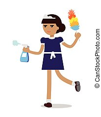 Cleaning Woman in Maid Uniform - Young girl or woman working...