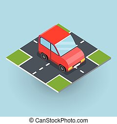 Isometric Red Car - Flat 3d isometric red car on isometric...