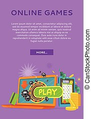 Online Games Concept Flat Style Vector Web Banner - Online...