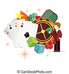 Casino Poster Roulette Card Dice Money Croupier