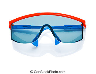 blue safety glases isolated