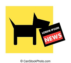 Dog and Newspaper Logo Concept, EPS 10 supported.