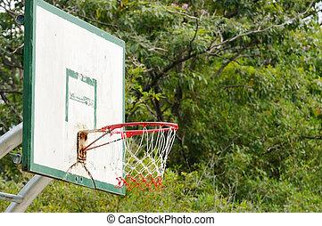Basketball backboard in public garden