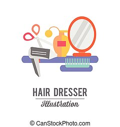 Beauty store background with make up artist and hairdressing...