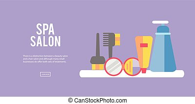 Beauty store background with make up artist and hairdressing objects lipstick, cream, brush. Template Vector.