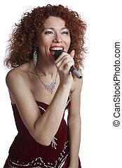 in a velvet dress - The beautiful singer in a velvet dress