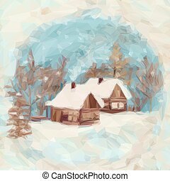 Christmas Landscape, Village Houses in the Winter Snowy...