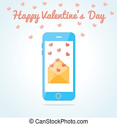 Smartphone with an open love sms or email. Valentine s day...