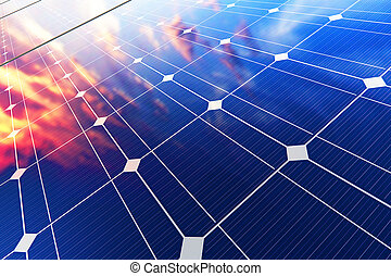 Electric solar battery panels - Creative abstract solar...