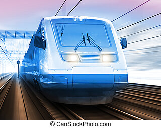 Modern high speed train in winter