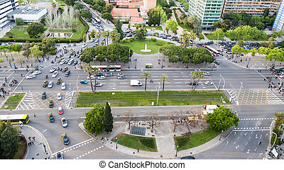 above view square Placa de Pius XII and avenue Diagonal in...