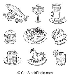 foodstuffs. menu items. set of vector sketches on a white...