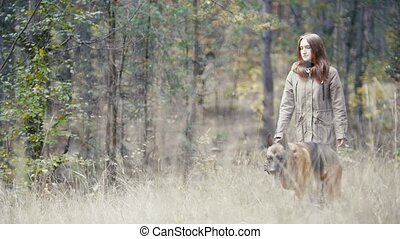 Young attractive woman walking in autumn forest with her pet...