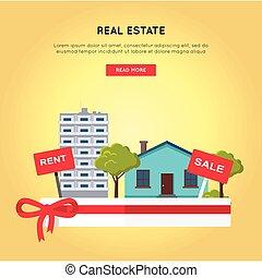 Real Estate Vector Web Banner in Flat Design. - Real estate...