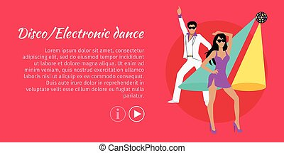 Disco and Electronic Dance Web Banner. Vector - Disco and...