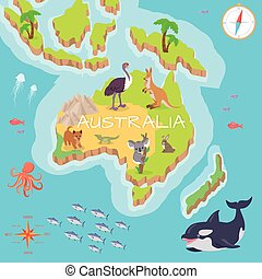 Australia Isometric Map with Flora and Fauna.