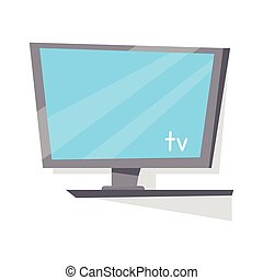 LCD TV Monitor with Blank Screen. - Gray LCD TV monitor with...