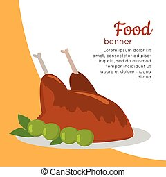 Food Banner. Grilled Delicious Chicken. Junk Food - Food...