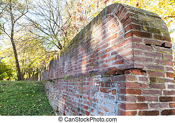 medieval wall of the ex papal fortress in Ferrara - travel...