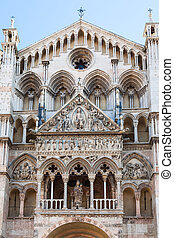 front view of Duomo Cathedral in Ferrara - travel to Italy -...
