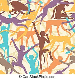 Monkey seamless tile - Vector seamless tile of colorful...