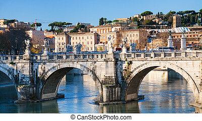 St Angel Bridge on Tiber river in Rome city