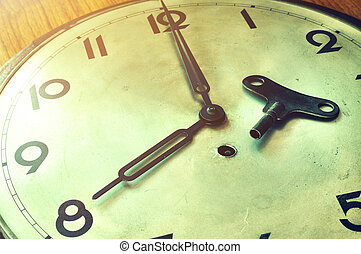 Retro clock with light flare, Vintage conception