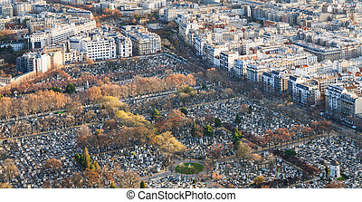 above view of montparnasse cemetery in Paris - travel to...