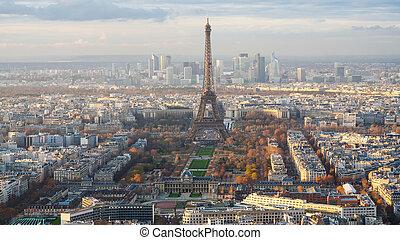 Paris city with Eiffel Tower, Champ de Mars