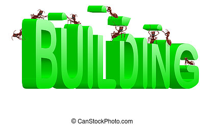 building under construction creating - building green word...