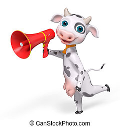 Cartoon character cow holding megaphone, 3d rendering -...