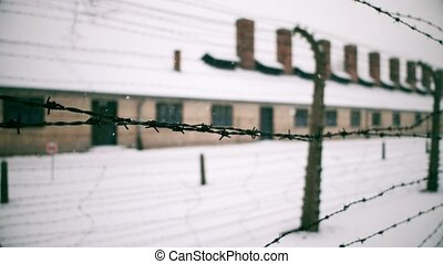 Walk along old rusty barbed wire fence of Auschwitz Birkenau...