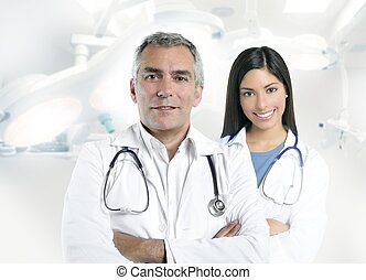 expertise gray hair doctor beautiful nurse hospital