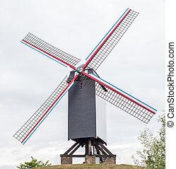 Wind mill Sint Janshuismolen in Bruges, Belgium