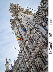 Tower of Maison du Roi on the Grand Place - Front tower of...