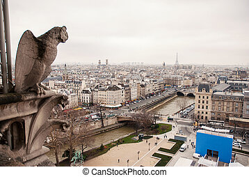 Gargoyles of Paris on Notre Dame Cathedral church and Paris...